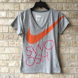 Nike Dri Slim Fit Gray Swoosh T Shirt Size Small